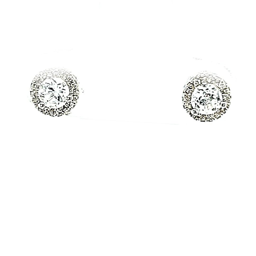 14KW White Topaz Halo Stud Earrings