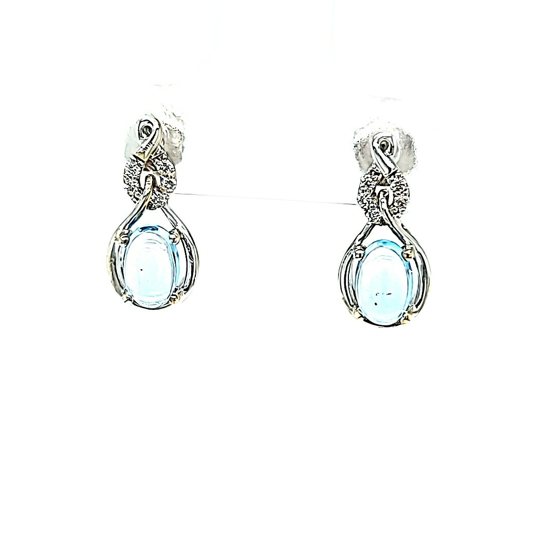 14KW  Bule Topaz Stud Earrings