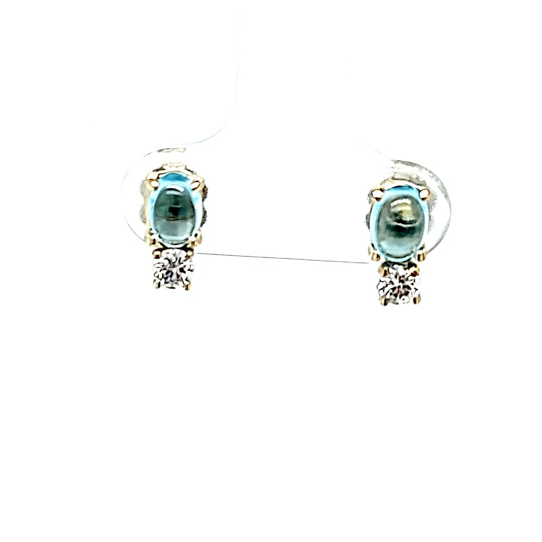 14KW Cabochon Blue Topaz Stud Earrings