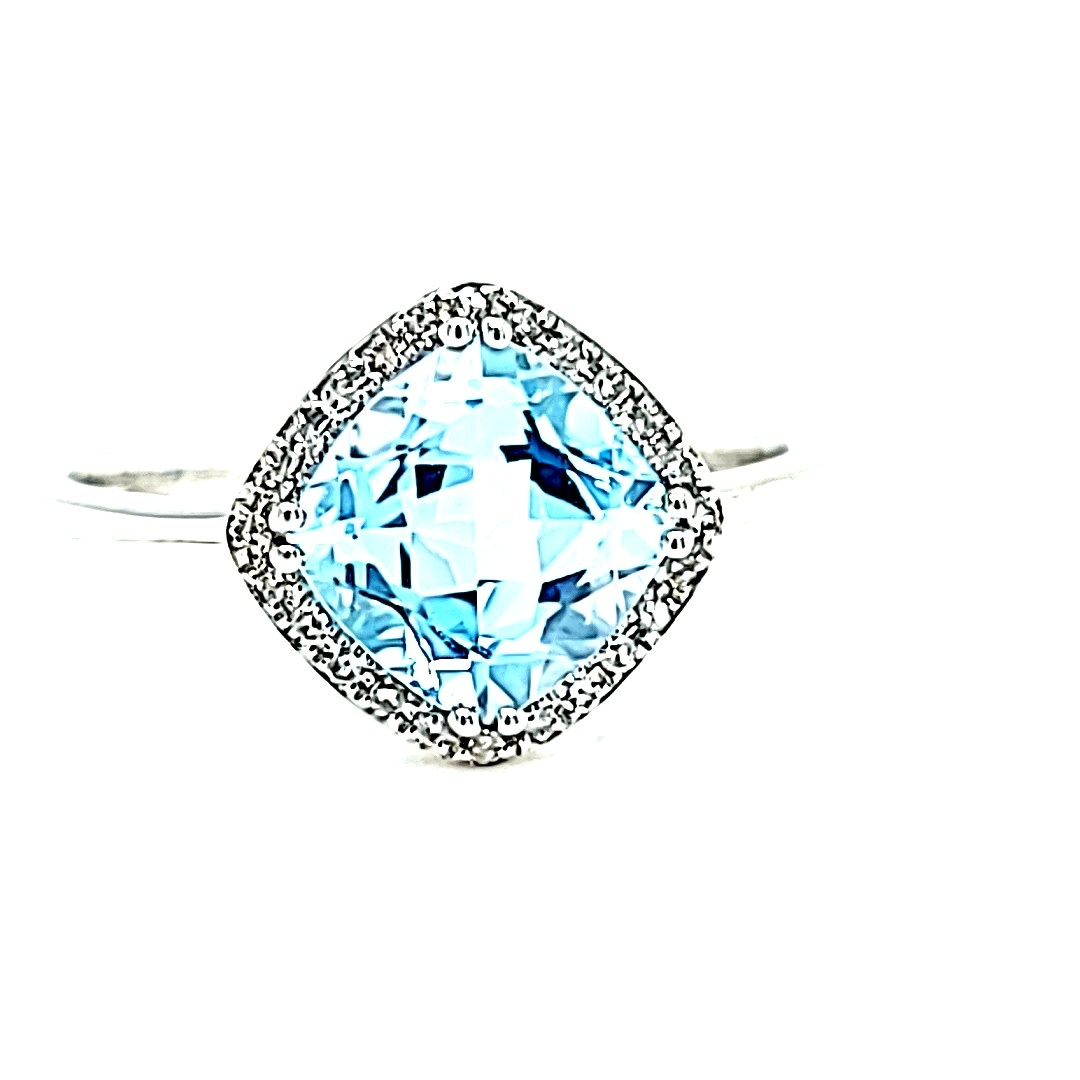 14KW  Blue Topaz Ring With a Diamond Halo