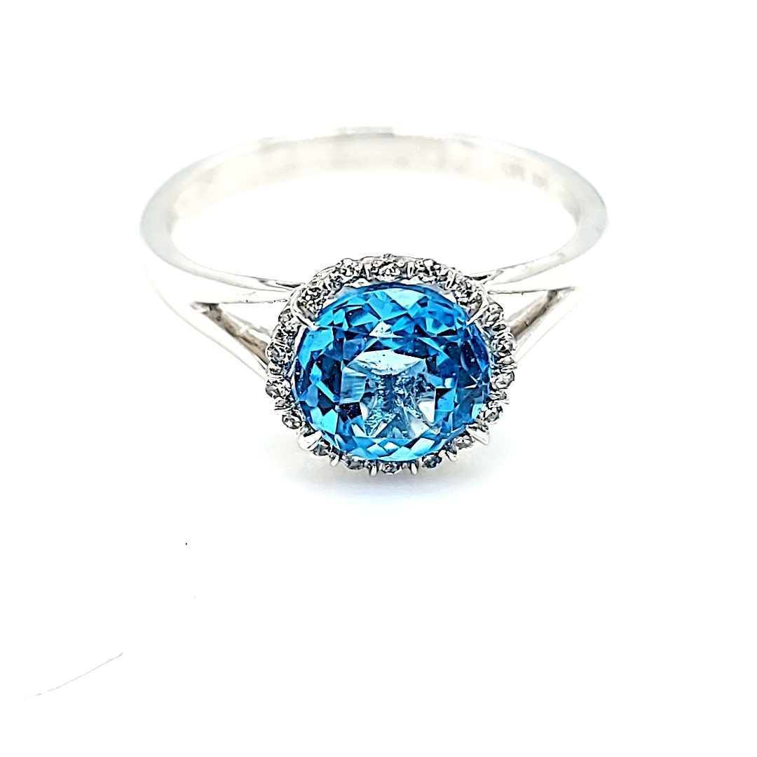 14KW 1.70CT Blue Topaz Halo Ring 0.06dtw