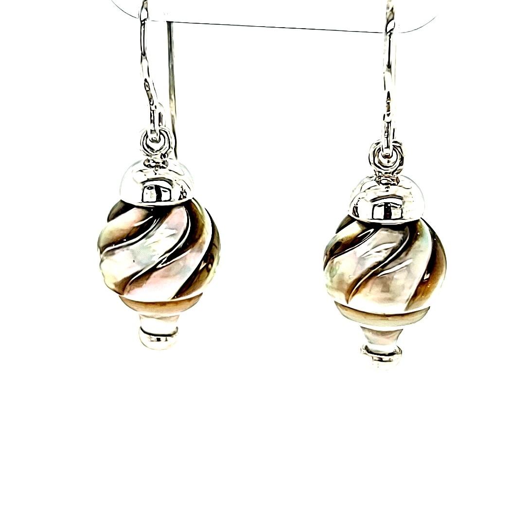 14KW Carved Tahitian Pearl Dangle Earrings