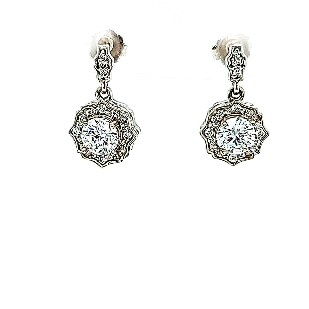 14KW Lab Grown Diamond Dangle Earrings