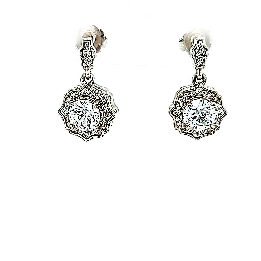 14KW Lab Grown Diamond Dangle Earrings