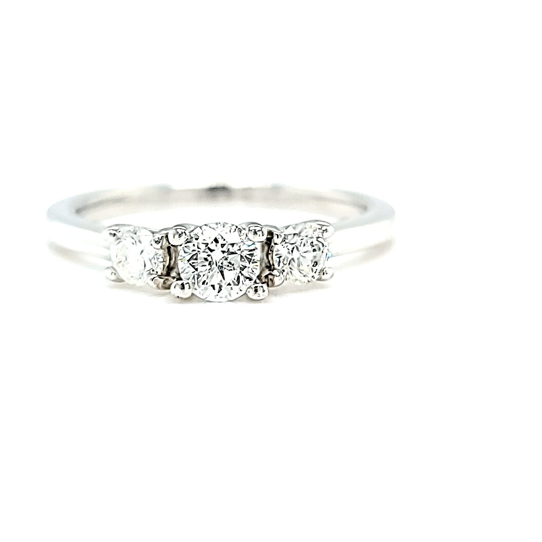 10KW 3 Round Stone Engagement Ring 0.40CTTW