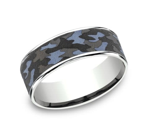 7.5mm Tantalum camouflage white gold wedding band
