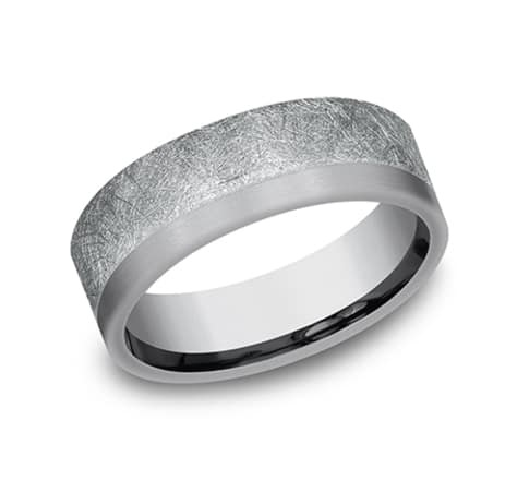 7mm Tantalum white gold swirl wedding band