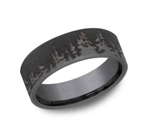 8mm Tantalum dark tree wrap around wedding band