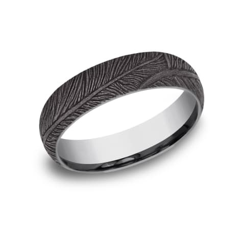 6mm Tantalum feather pattern wedding band