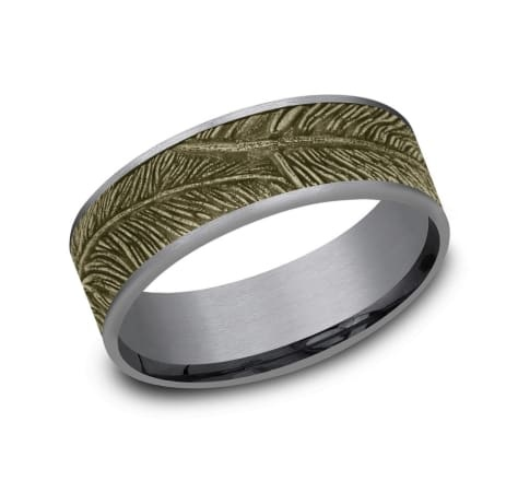 7.5mm Tantalum yellow gold feather wedding band