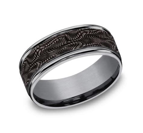 8mm Tantalum snakeskin pattern wedding band