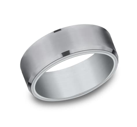 8mm Tantalum comfort fit white gold  wedding band