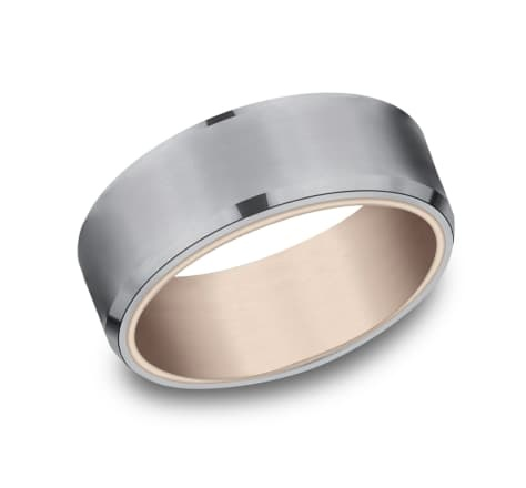 8mm Tantalum comfort fit rose gold wedding band