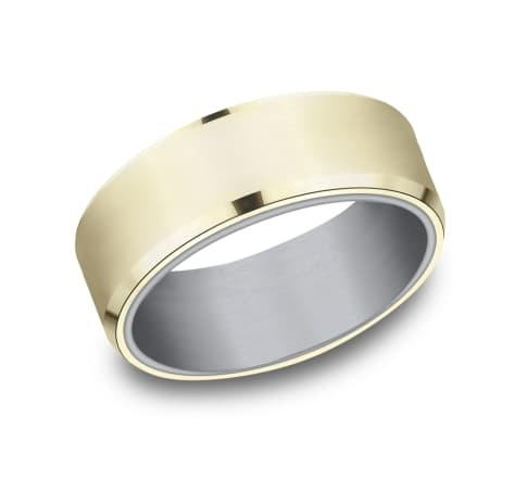 8mm Tantalum yellow gold wedding band