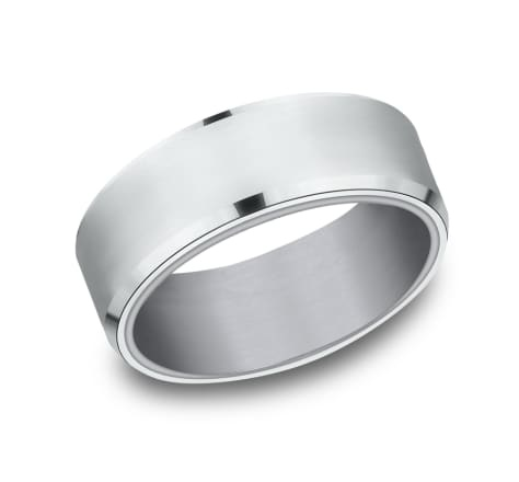8mm Tantalum white gold wedding band