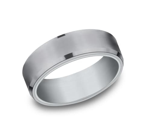 6.5mm Tantalum two tone white gold wedding band