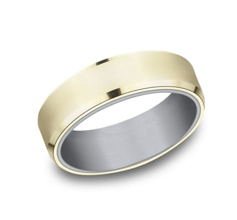 6.5mm Tantalum two tone yellow gold wedding band