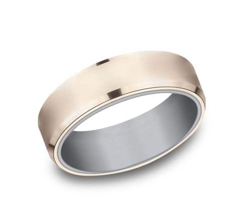 6.5mm Tantalum two tone rose gold wedding band