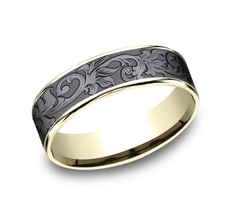 6.5mm Tantalum yellow gold vintage floral wedding band