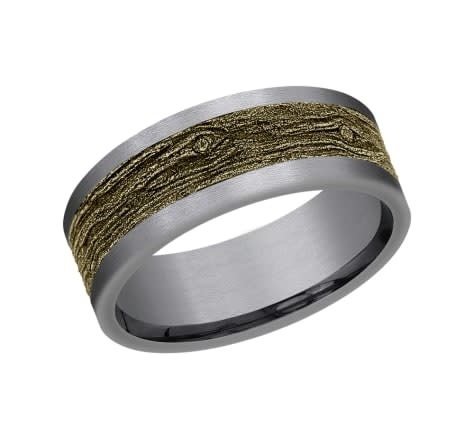 8mm Tantalum yellow gold wood look wedding band