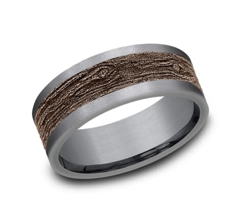 8mm Tantalum rose gold wood look wedding band