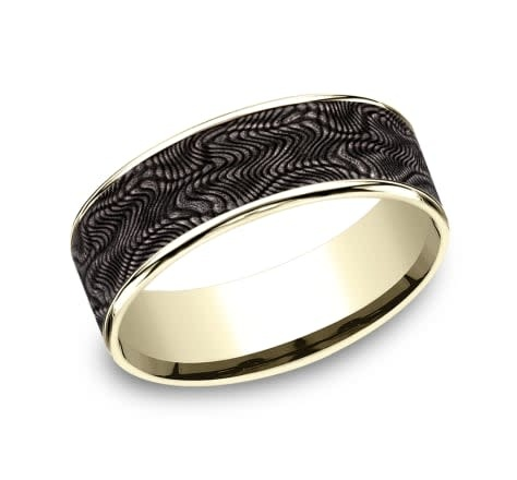 7.5mm Tantalum yellow gold snakeskin wedding band