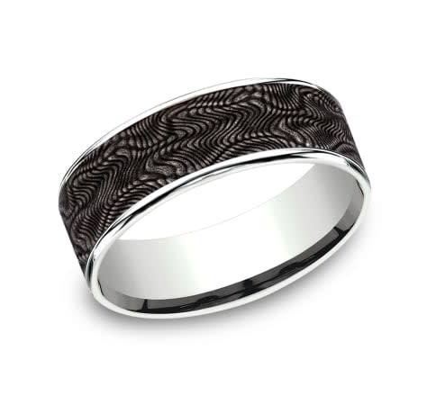 7.5mm Tantalum white gold snakeskin wedding band