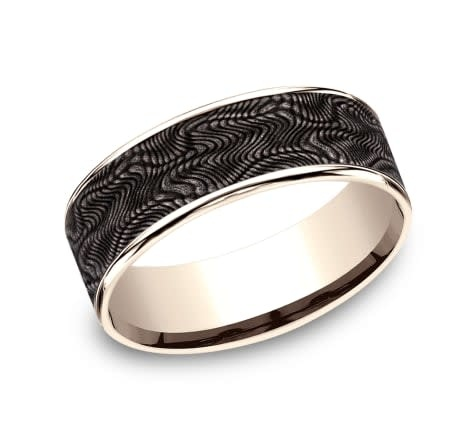 7.5mm Tantalum rose gold snakeskin wedding band