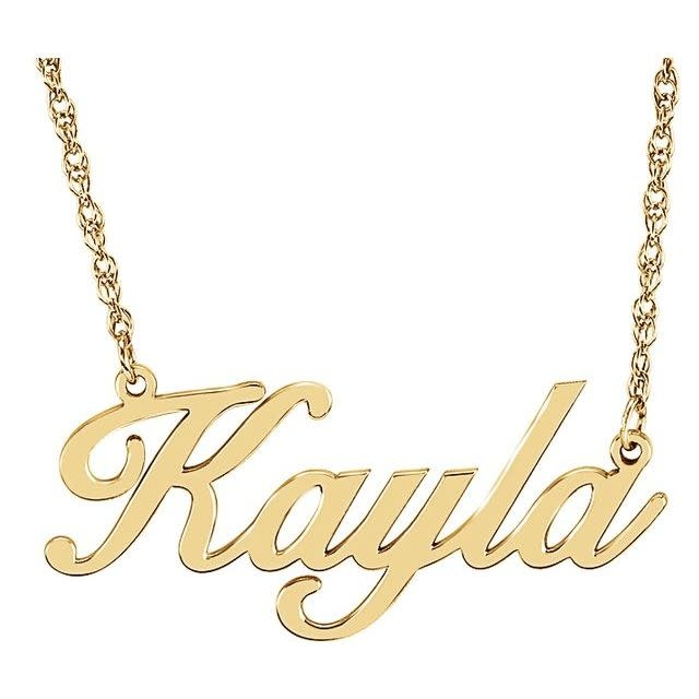 "14KY Plated sterling Silver Name Plate  16"" Chain"