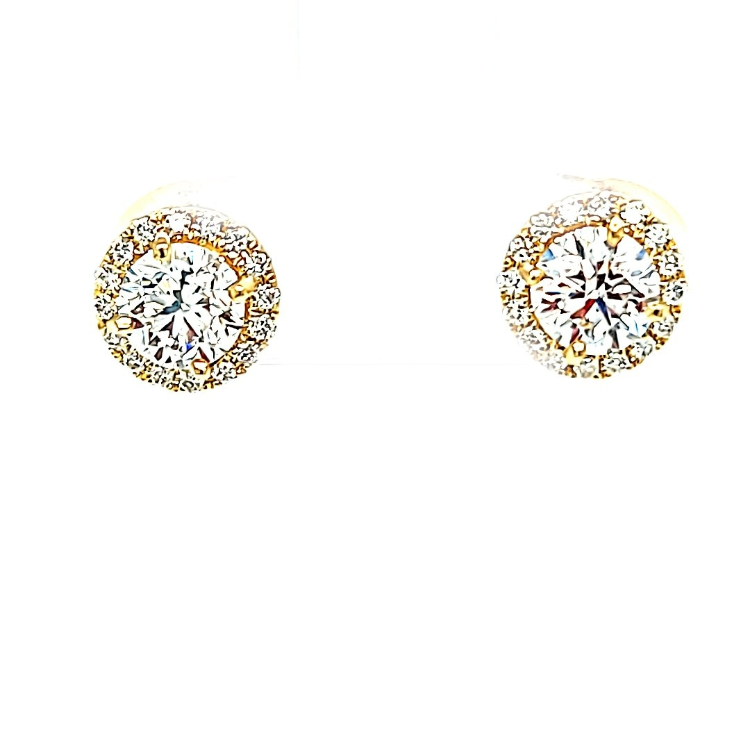 14KY Halo 1.09CTTW Lab Grown Diamond Stud Earrings