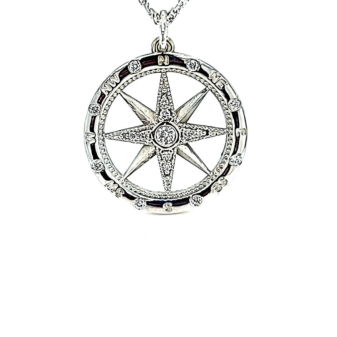 14KW Lab Grown Diamond Compass Pendant