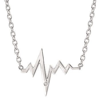 .925 .01CT Diamond Heartbeat Pendant