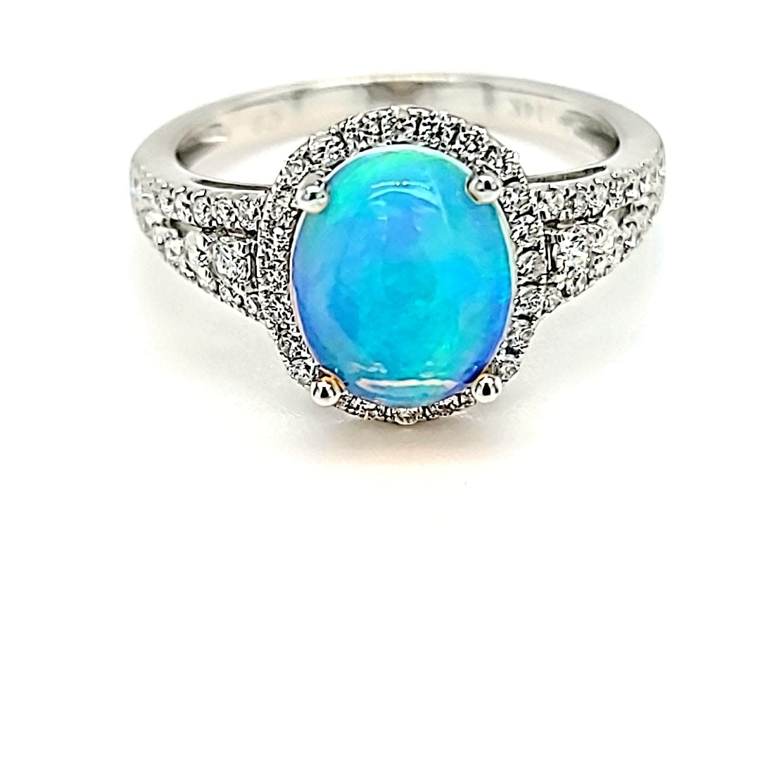 14KW 1.82 Ethiopian Opal and Diamond Ring