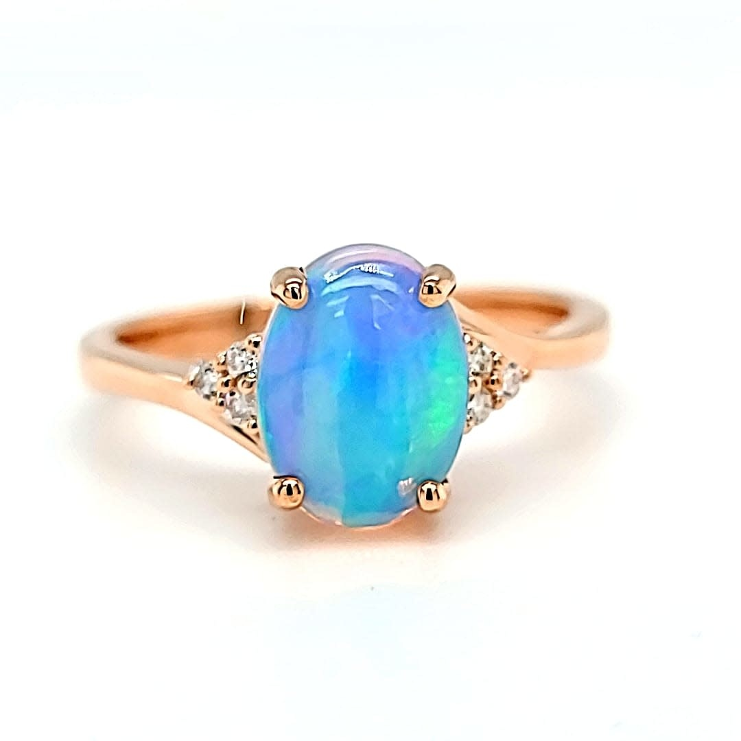 14KR 1.30CT Ethiopian Opal and Diamond Ring