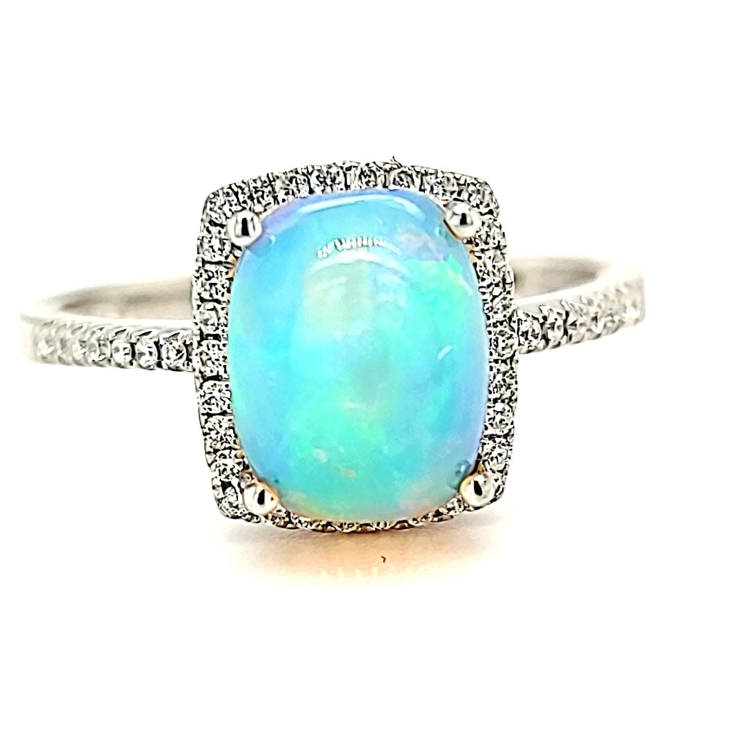 14KW 1.70CT Ethiopian  Opal and Diamond Halo Ring