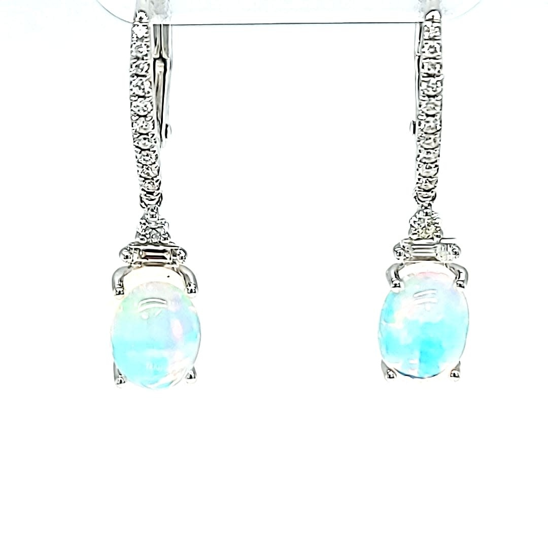 14KW Opal and Diamond Dangle Earrings
