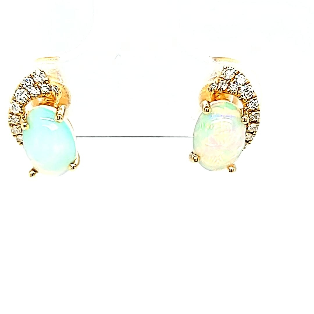 14KY Opal and Diamond Stud Earrings
