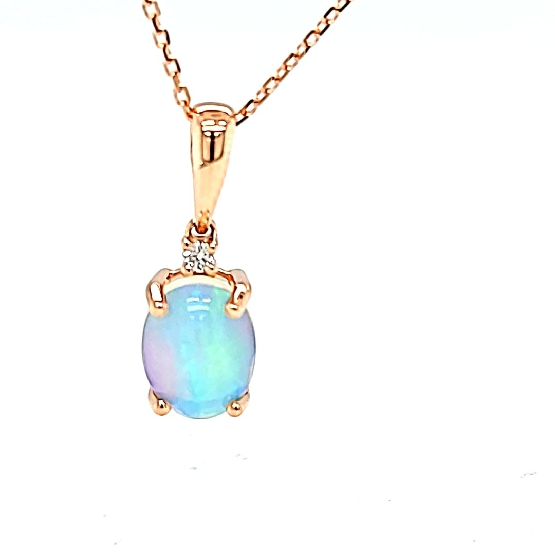 14KR Opal and Diamond Pendant