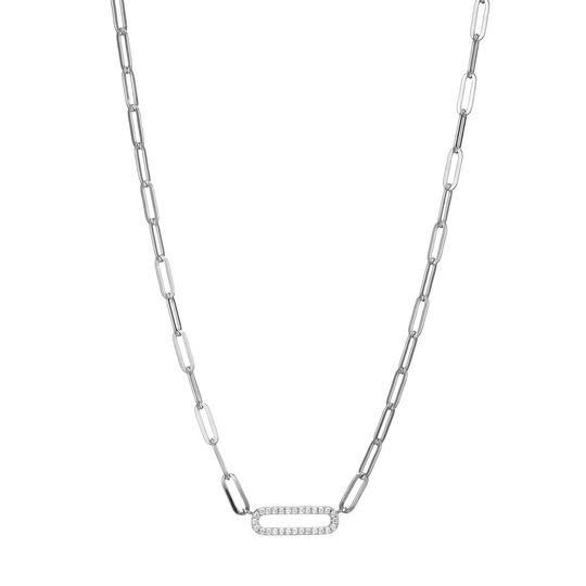 Elle .925 CZ  Paper Clip Chain Necklace