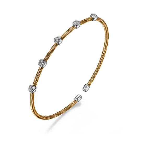 Elle .925 Rose Plated CZ Cuff Flex Bracelet