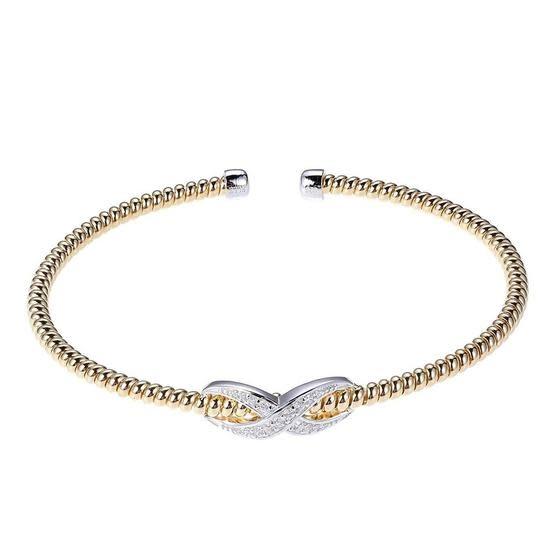 Elle .925 Yellow Plated Infinity CZ Flex Cuff Bracelet
