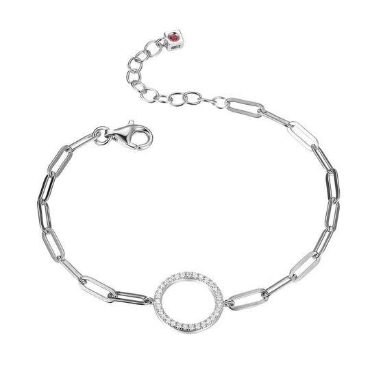 Elle .925 CZ Paper Clip Chain Bracelet