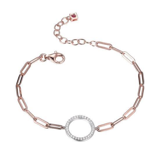 Elle .925 Rose Plated CZ Paper Clip Chain Bracelet