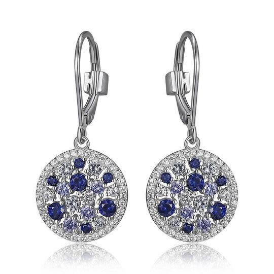 Elle .925 Synthetic Tanzanite, Corundum, and Spinel Cluster Dangle Earrings