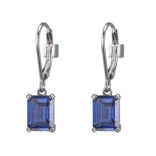 Elle .925 Tanzanite Colored CZ Solitaire Earrings