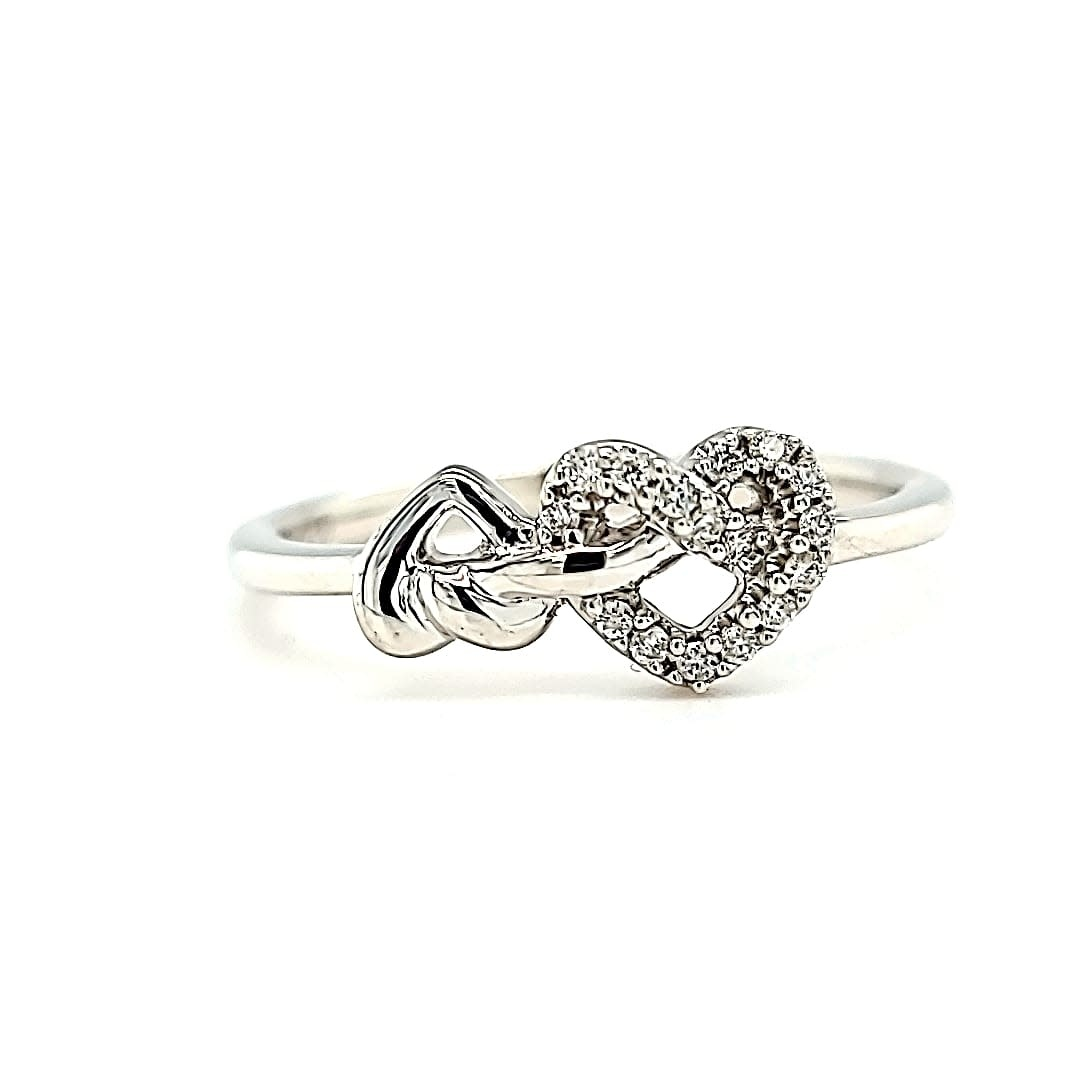 .925 Diamond Heart Ring 0.08CTTW