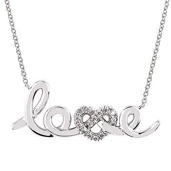 """.925 """"LOVE"""" Diamond Necklace 0.12TW"""