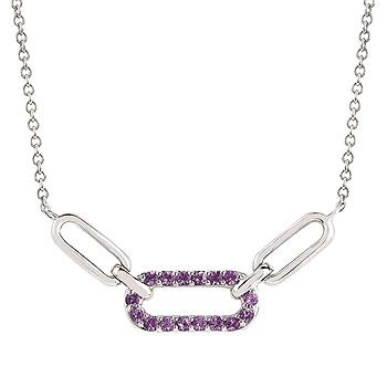 .925 Amethyst Chain Link Pendant