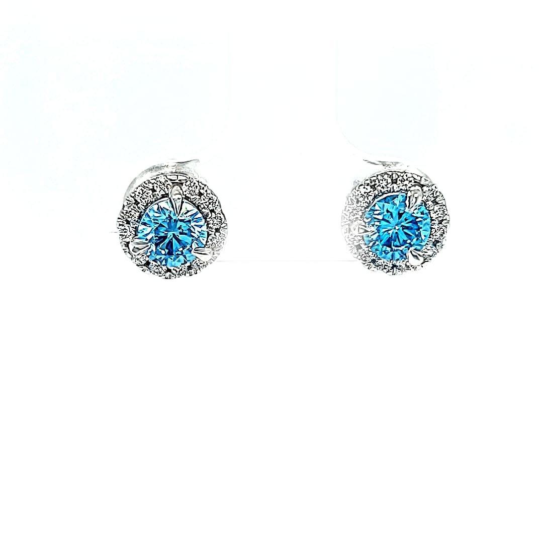 14KW Lab Grown Blue Diamond Earrings