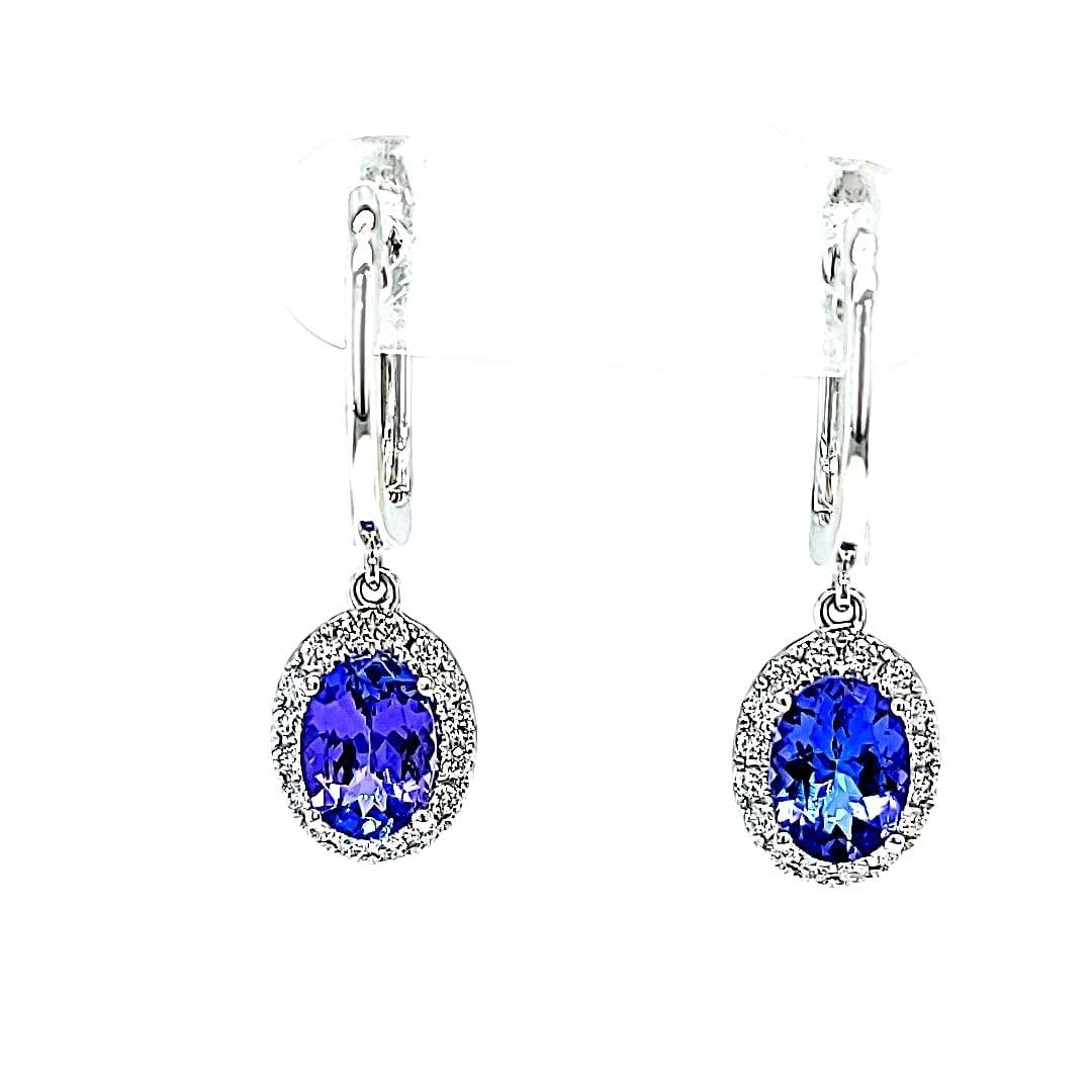 14KW Halo Tanzanite Dangle Earrings